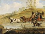 THE OXFORD AND LONDON COACH FORDING A STREAM