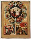 NEW TESTAMENT TRINITY WITH PRESENTATION OF THE MOTHER OF GOD AND SCENES FROM THE LIFE OF ST. ELIJAH