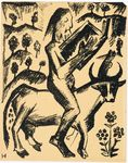 """Print from a series illustrating Aleksei Kruchenykh's """"Hermits and Hermitesses: Two Poems"""" (one of four)"""